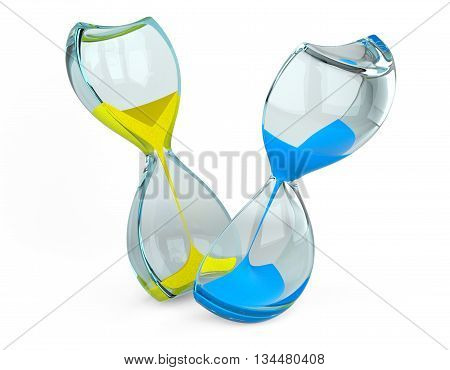 Hourglass cut into two parts with blue and yellow sand. The concept of measuring the time in a countdown to a deadline isolated on a white background image.