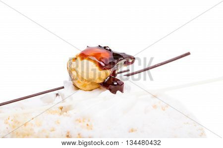 Delicious cake with crunchy sugar and cream. Macro. Photo can be used as a whole background.