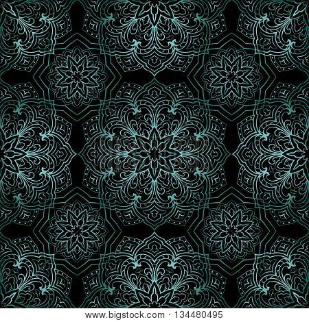 Rich metallic turquoise ornaments on a black background. Vector seamless ornate oriental pattern. Template for textile.