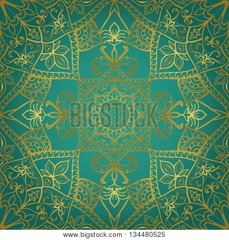 Rich gold ornament on a turquoise background. Vector ornate oriental pattern. Template for textile.