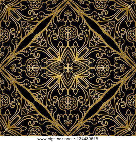 Vector gold ornament on a black background. Oriental floral pattern with pomegranates. Template for the carpet bedspreads mosaics shawls tiles wallpaper.