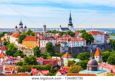View From Tower Of Saint Olaf Church On Old City Of Tallinn And Roofs Of Old Houses. Tallinn, Estoni