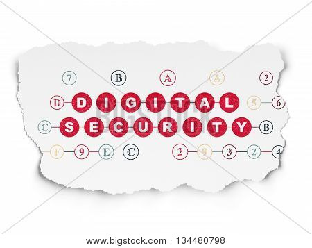 Safety concept: Painted red text Digital Security on Torn Paper background with Scheme Of Hexadecimal Code
