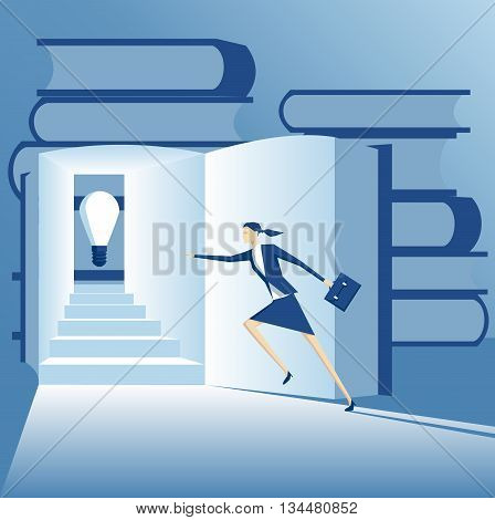 Business concept of idea and knowledge businesswoman runs up the stairs in the book to find an idea