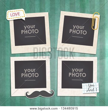 Vintage hipster retro stile. Decorative vector template frame. These photo frame can be use for kids picture or memories. Scrapbook design concept. Inset your picture.