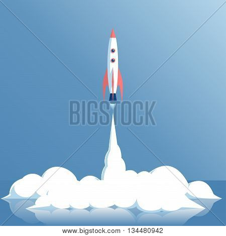 vector illustration of a rocket launch or of a spaceship or a spacecraft startup concept