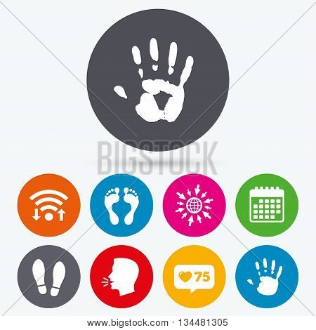 Wifi, like counter and calendar icons. Hand and foot print icons. Imprint shoes and barefoot symbols. Stop do not enter sign. Human talk, go to web.