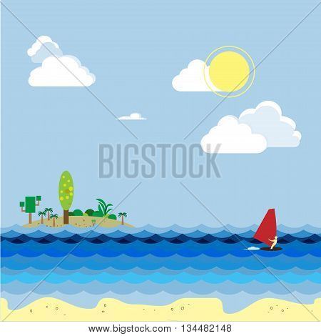 Windsurfer on tropical landscape with blue sea waves and palms on a cloudy sky. Nature vector.