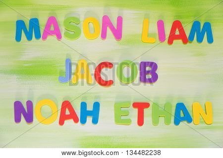 Colorful Letters, Favorite Boy´s Names