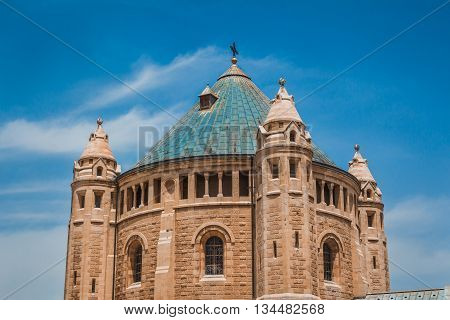 The Top Part Of The Abbey Of The Dormition Building At Mount Zion In Jerusalem