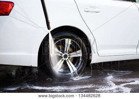 Car Wash With High Pressure Water