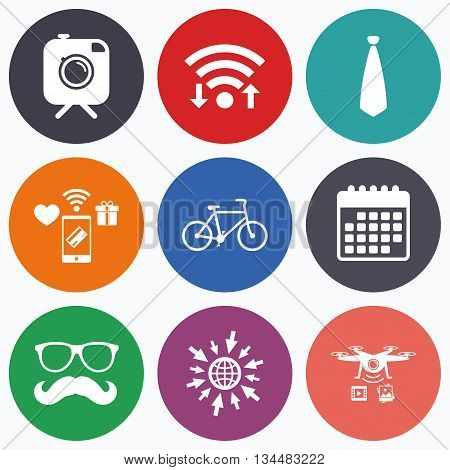 Wifi, mobile payments and drones icons. Hipster photo camera with mustache icon. Glasses and tie symbols. Bicycle family vehicle sign. Calendar symbol.