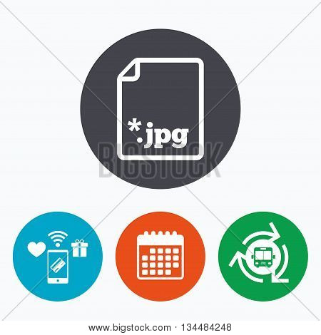 File JPG sign icon. Download image file symbol. Mobile payments, calendar and wifi icons. Bus shuttle.