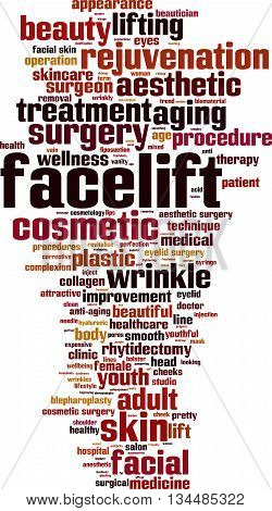 Facelift word cloud concept. Vector illustration on white