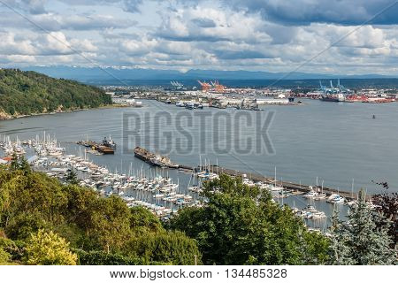 A view of a marina and the Port of Tacoma.