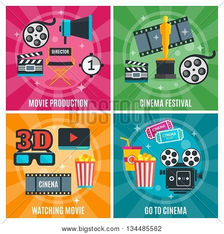 Cinema industry concept with production awards and festivals watch film visit to movie theater isolated vector illustration