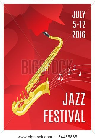 Jazz music poster with a saxophone notes on red background and the concert date vector illustration