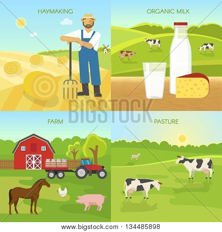 Agriculture flat compositions with hay harvest organic dairy products farm green pasture isolated vector illustration