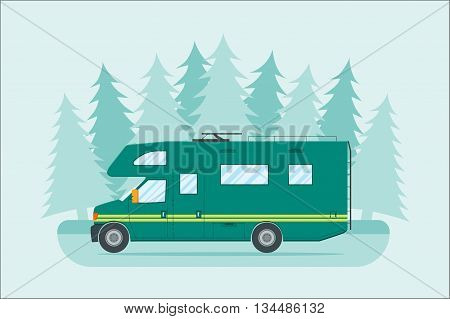 Modern flat camper van. Car for family travel. Concept of outdoor recreation and travel around the world. Poster card leaflet or banner template design with place for text. Vector illustration.