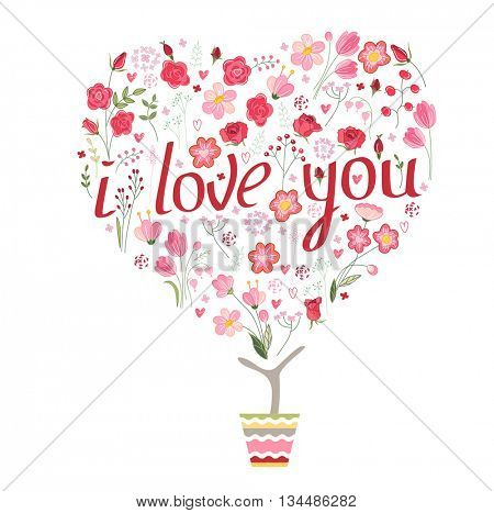 Stylized tree in cute flower pot. Topiary with roses and phrase I love you.