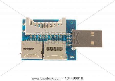 Disassembled usb chip. Macro. Isolated on a white background.