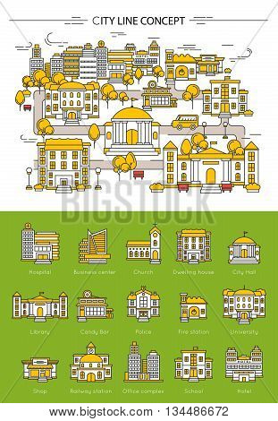 Building line concept wit different types of building in city hospital library hotel school vector illustration
