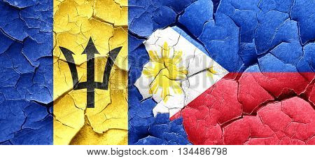 Barbados flag with Philippines flag on a grunge cracked wall