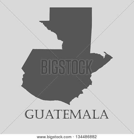 Black Guatemala map on light grey background. Black Guatemala map - vector illustration.