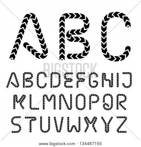 arrow strip font alphabet letters vector