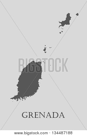 Black Grenada map on light grey background. Black Grenada map - vector illustration.