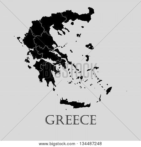 Black Greece map on light grey background. Black Greece map - vector illustration.