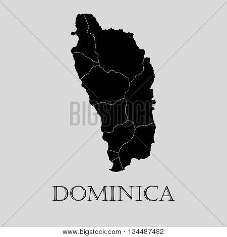 Black Dominica map on light grey background. Black Dominica map - vector illustration.