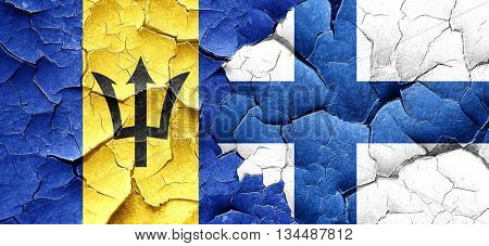 Barbados flag with Finland flag on a grunge cracked wall