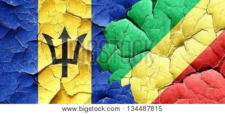 Barbados flag with congo flag on a grunge cracked wall