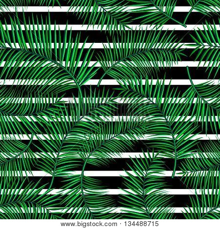 Retro vector illustration of exotic tropical seamless pattern with cartoon bright palm leaves, geometric straight line isolated on white background. Trendy plant endless backdrop. Use for print web