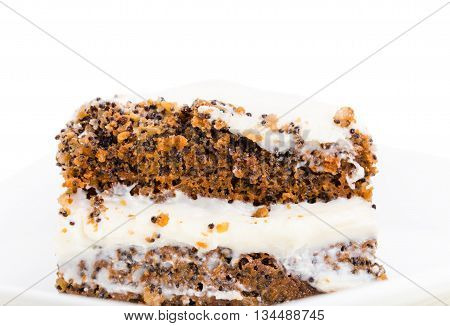 Delicious poppy seed cake with walnuts. Macro. Photo can be used as a whole background.