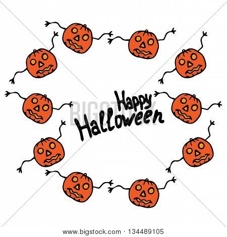 Frame Happy Halloween lettering with pumpkin. Vector greeting card with lettering.