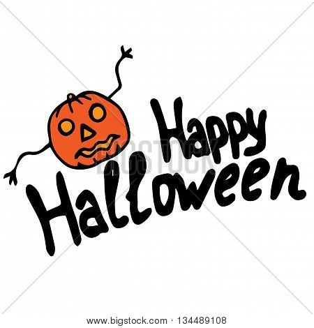 Happy halloween lettering with pumpkin. Vector greeting lettering