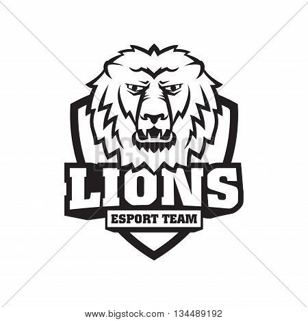 Mascot the muzzle of a lion on board. Leo talisman college sports teams e-sport school logo tattoo avatar print t-shirt. The design of the character of a wild African cat. Vector illustration.