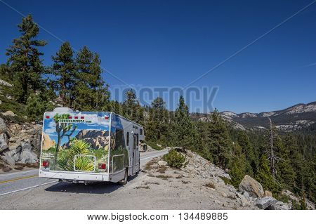 YOSEMITE, CA, USA - OCTOBER 9, 2015: Motorhome on a mountain pass in Yosemite National Park, USA