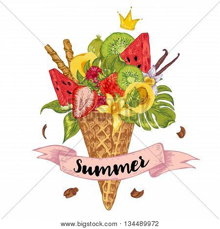 Summer vector hand drawn greeting card with a fruity cocktail in waffle cone flowers isolated natural illustration Berries in waffle cones