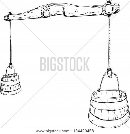 Outline Sketch Of 18Th Century Yoke With Buckets