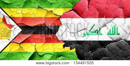 Zimbabwe flag with Iraq flag on a grunge cracked wall