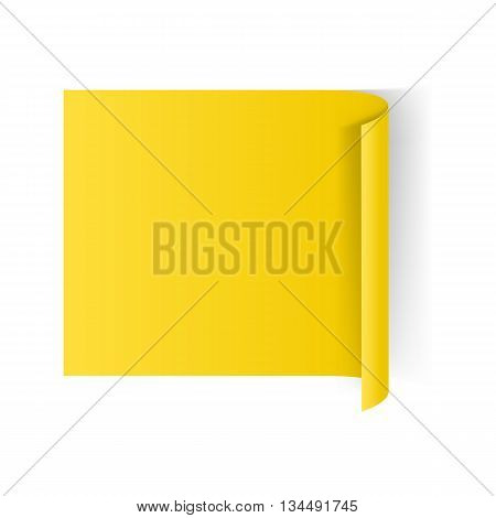 Illustration of Yellow Paper Notepad with Curling Edge