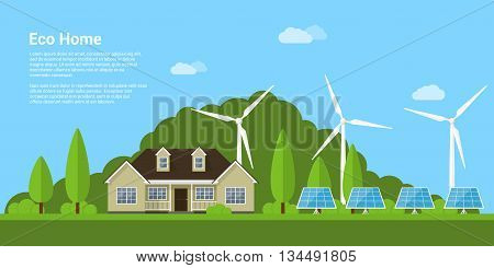 picture of a privat house solar panels and wind turbines with mountains on background flat style concept of eco home renewable energy ecology