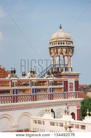 Chettinad India - October 17 2013: Chidambara Palace in Kadiapatti. View on the top floor with patios and lookout tower.