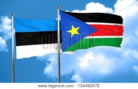 estonia flag with South Sudan flag, 3D rendering