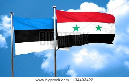 estonia flag with Syria flag, 3D rendering