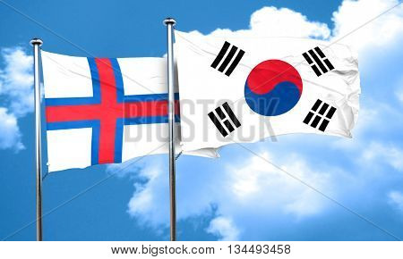 faroe islands flag with South Korea flag, 3D rendering