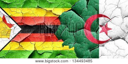 Zimbabwe flag with Algeria flag on a grunge cracked wall